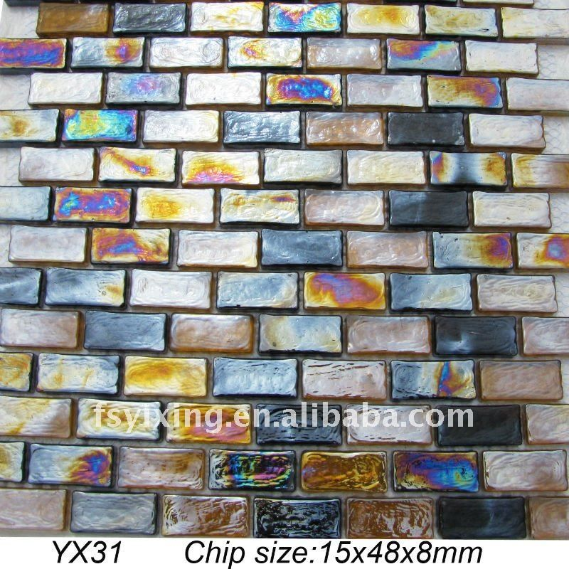 8mm thickness rectangle iridescent glass mosaic tile YX31 for ...
