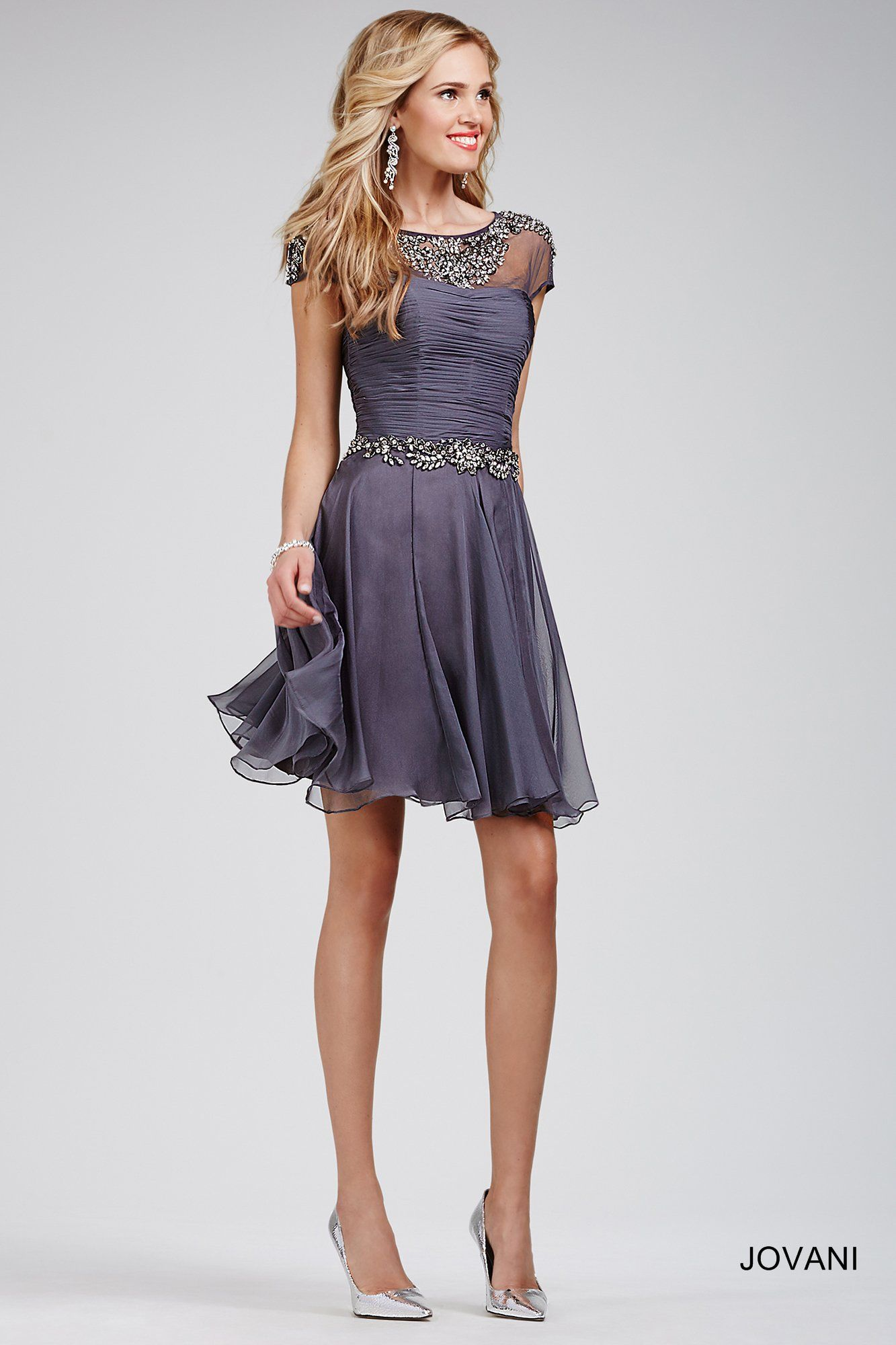Grey Cap Sleeve Fit and Flare Dress 20003 - Homecoming Dresses ...