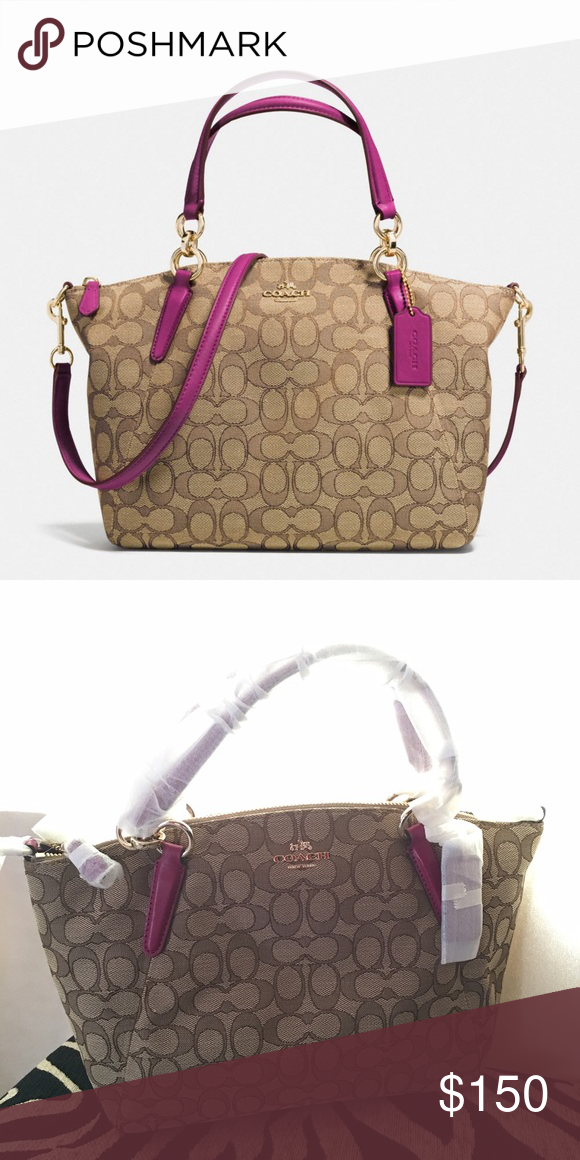 0324e025d0ef61 Coach Small Kelsey Satchel in Signature Jacquard Signature jacquard Inside  zip, cell phone and multifunction