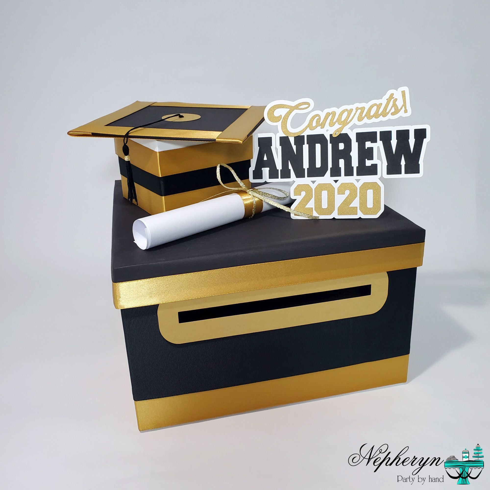 Graduation Card Box Black Gold White 10x10 In 2020 Graduation Card Boxes Graduation Party Cards Graduation Party Card Box