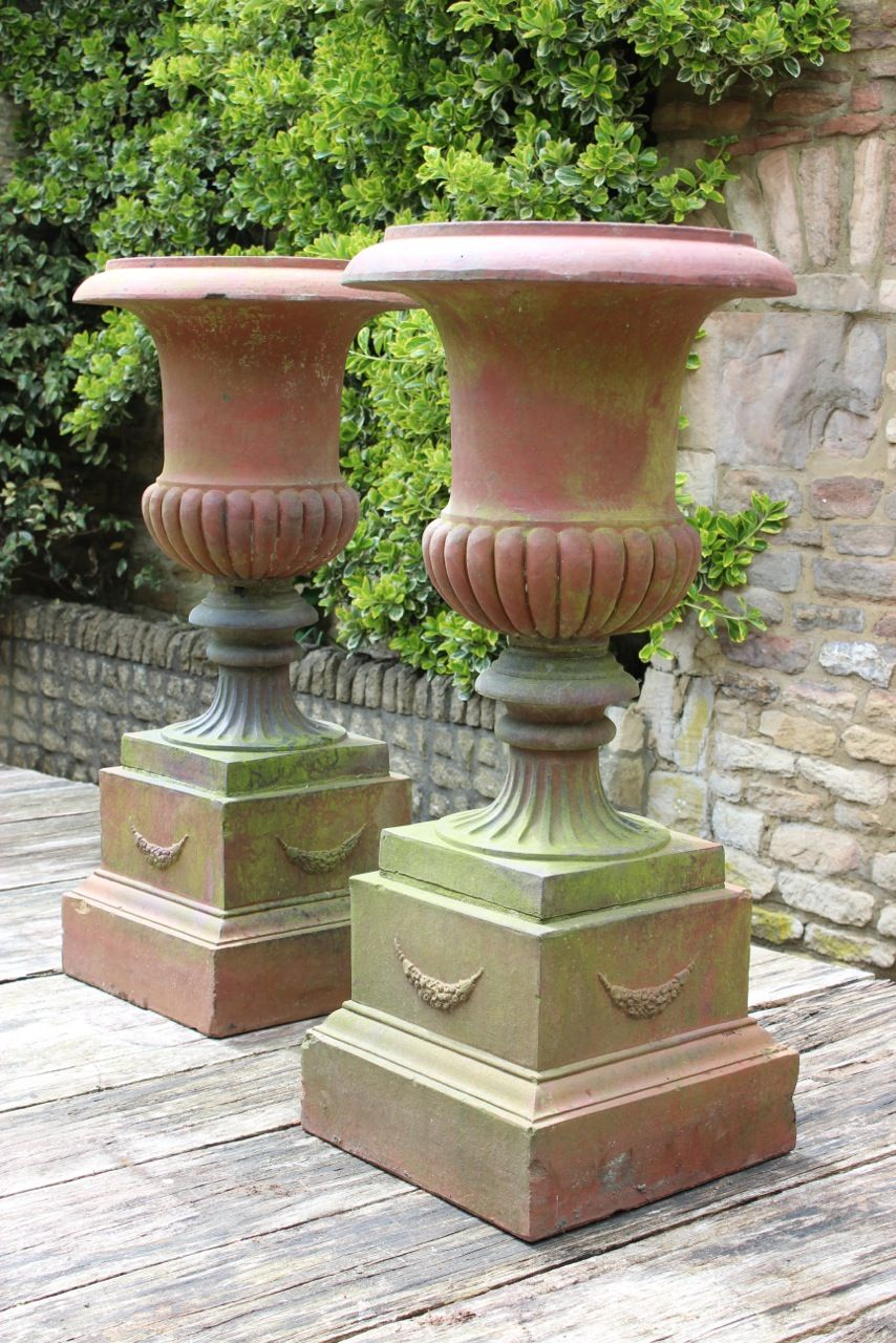 Perfect Large Pair Of 19th Cent Terracotta Urns On Plinths.