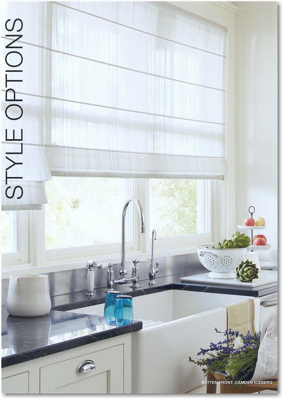 Hunter douglas design studio roman shades in sheer fabric for Fabric shades for kitchen windows