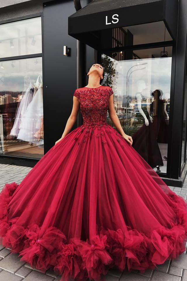 Red Tulle Appliques Ball Gown Prom Dress, Sweet 16 Dresses,Quinceanera  Dresses OK920 eb09da11a3b6