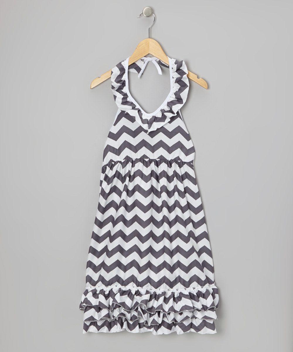 Royal gem gray zigzag ruffle halter maxi dress toddler u girls