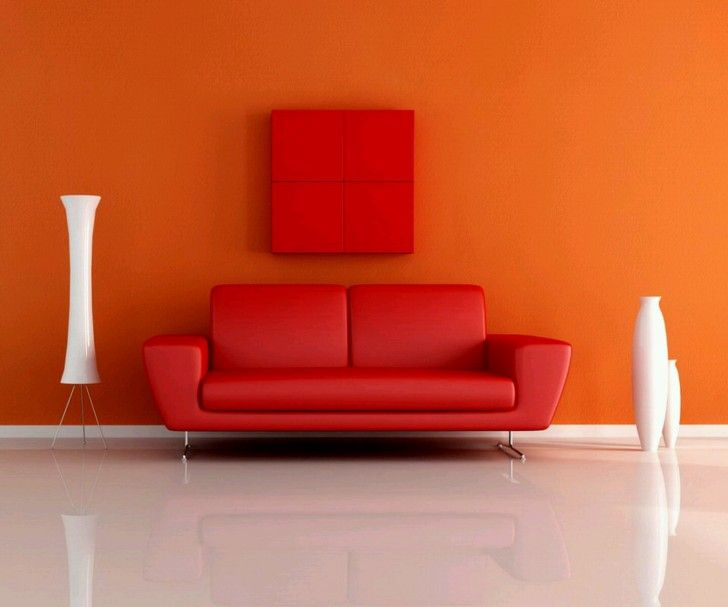 Red Color Scheme Leather Materials Modern Sofa Design With
