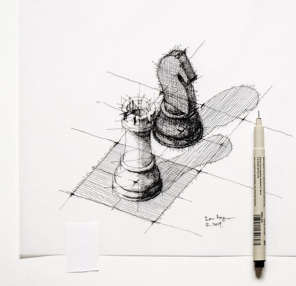 The Black Horse Sketch Chess Ilustraciones Tatuaje De