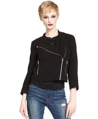 RACHEL Rachel Roy Jacket, Three-Quarter Zipper Motorcycle - Jackets & Blazers - Women - Macy's