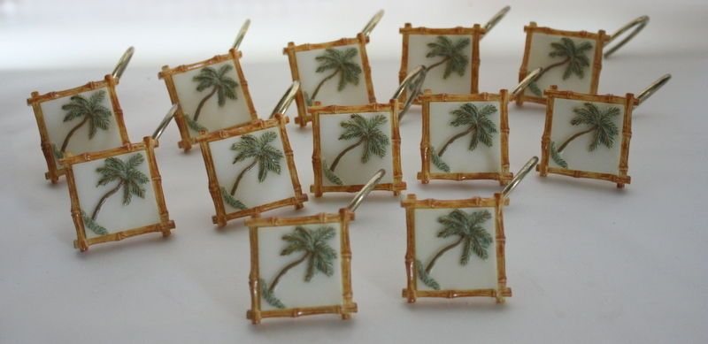Palm Tree Resin Shower Curtain Hooks Bamboo Square JcPenney Home Collection   #JCPenney