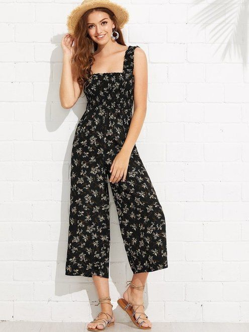f996650cf0a60 Calico Print Frill Trim Jumpsuit | New Ladies summer look on sale 10 ...