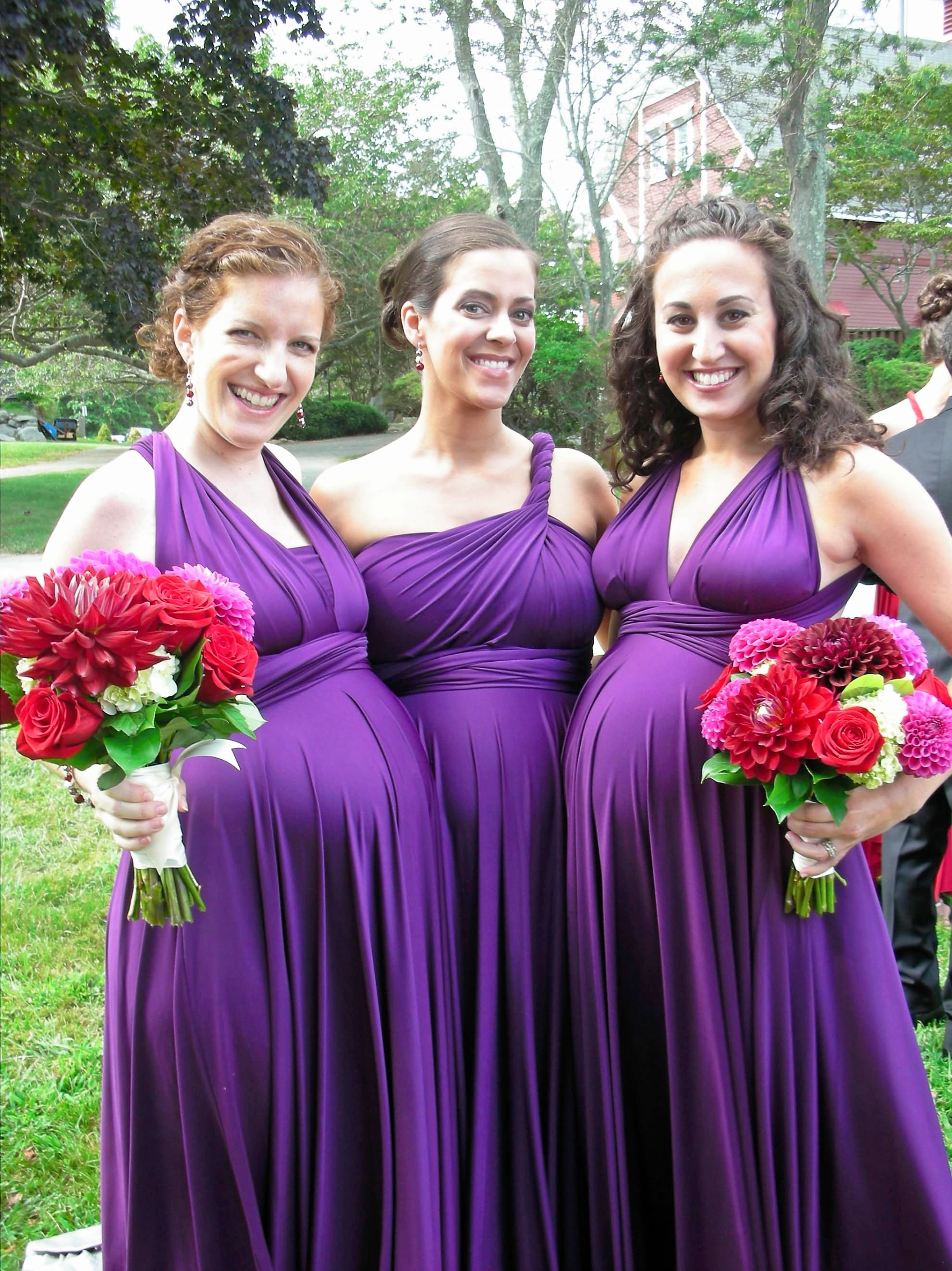 Gorgeous pregnant bridesmaids in aubergine ballgowns. They are ...