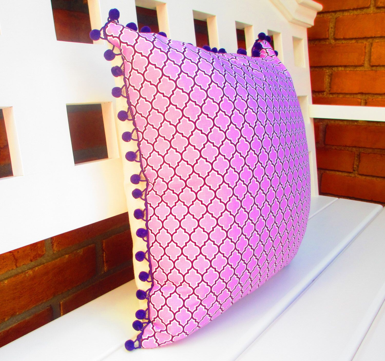 Boho Pillow Purple Pom Quatrefoil Large Cushion For Bed Or Sofa