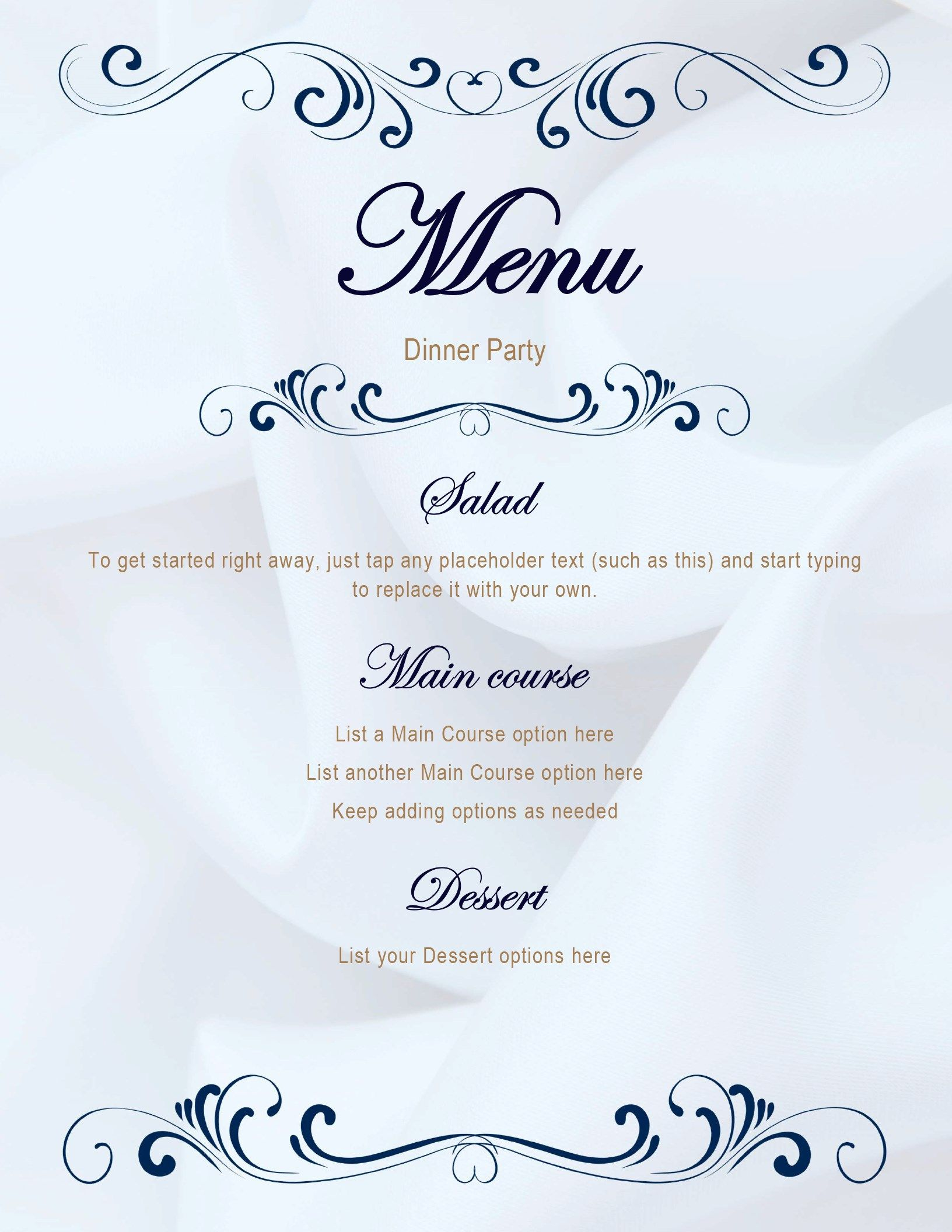 Create An Elegant Menu For Your Next Dinner Party This Template Makes It Easy Just Select Any T Menu Template Word Menu Template Free Printable Menu Template