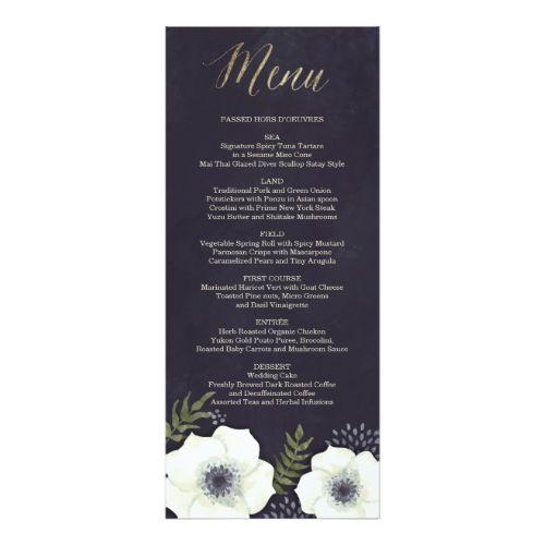 Blue Wedding Menu Summer Night Flowers Wedding Menu Card