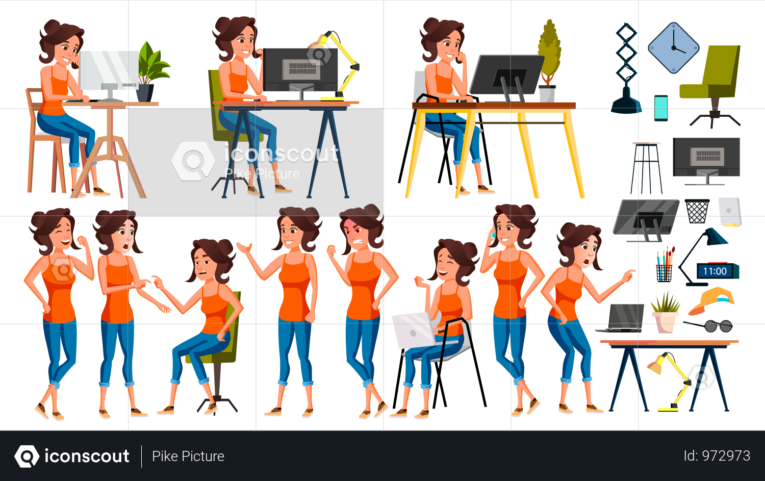 Premium Office Environment Illustration Download In Png Vector Format Business Illustration Business Women Vector
