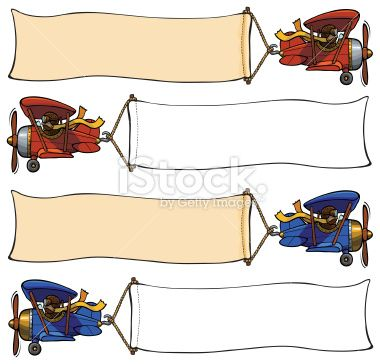 Plane Clip Art two seater | Cartoon airplane pulling banner Stock ...