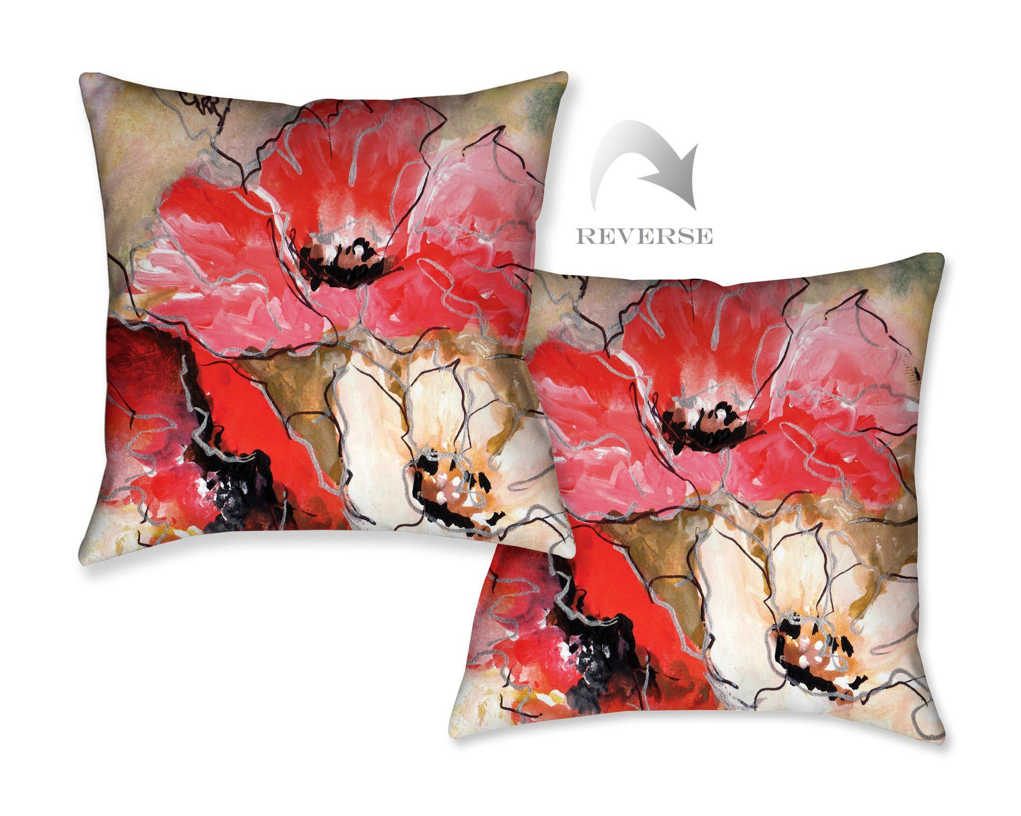 Triple Poppy Decorative Pillow