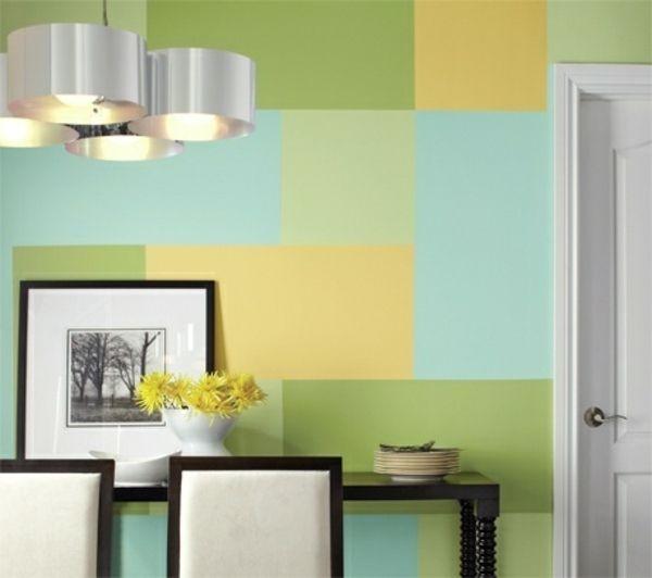 wand muster streichen rechteck blau gr n gelb erste gemeinsame wohnung pinterest w nde. Black Bedroom Furniture Sets. Home Design Ideas