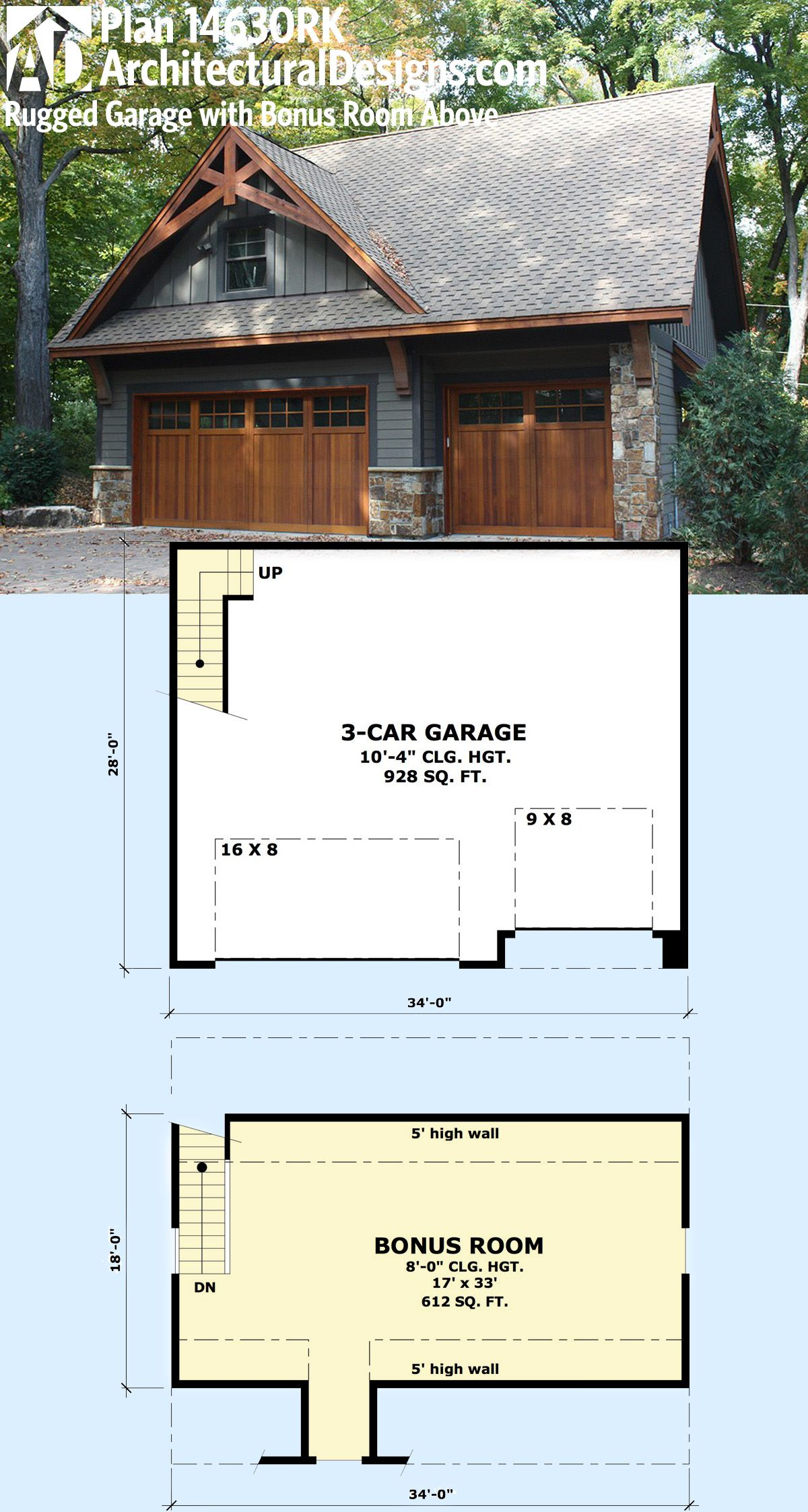 Plan 14630rk rugged garage with bonus room above garage for Garage plans with bonus room