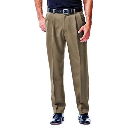 Cool 18® Pants - Classic Fit, Pleated Front, Expandable Waist - Haggar