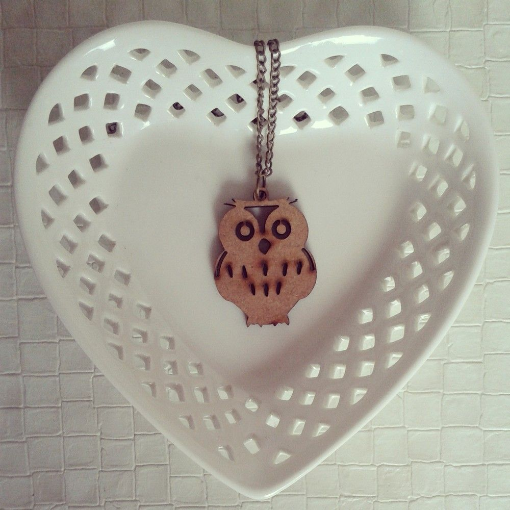 Wooden Owl 'I' Necklace via choc.hotlate. Click on the image to see more!