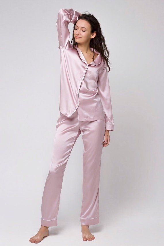 1ab2e6323c69 Silk pajama set Silk long pajamas Silk pyjamas Silk loungewear Pink pajamas  Silk pajama pink Unique