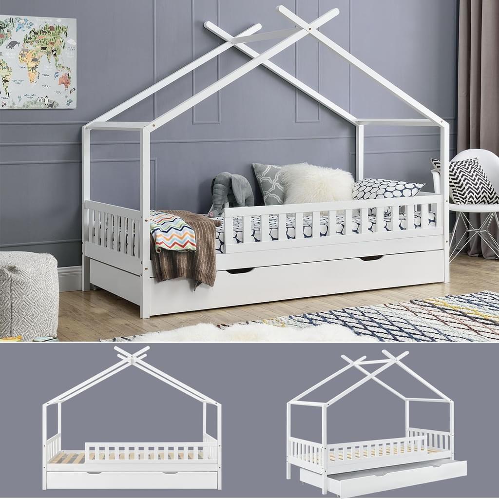 Juskys Kinderbett Tipi Mit Bettkasten Und Lattenrost 90 X 200 Cm Weiss In 2020 Kinderbett Tipi Kinder Bett Kinderbett Etagenbett