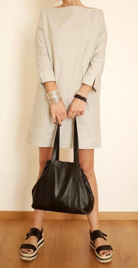 Photo of Tunica in lino – Abito in lino – Abbigliamento donna in lino – Top in lino – Abbigliamento minimale – Abito camicia lunga – Abito corto grigio – Scollo a barchetta