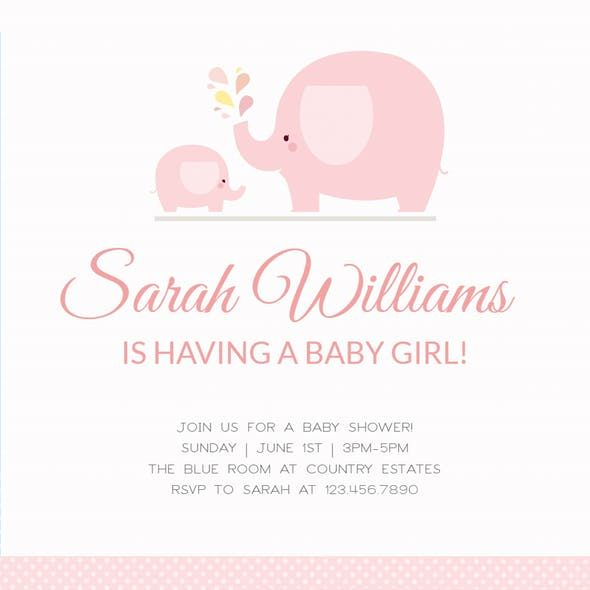 Pink Baby Elephant Baby Shower Invitation M Baby Shower
