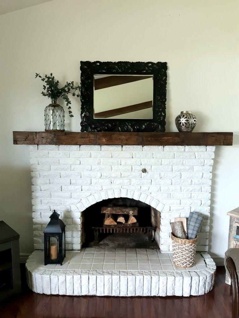 Farmhouse White Brick Fireplace Barn Beam Mantle Decor #whitebrickfireplace