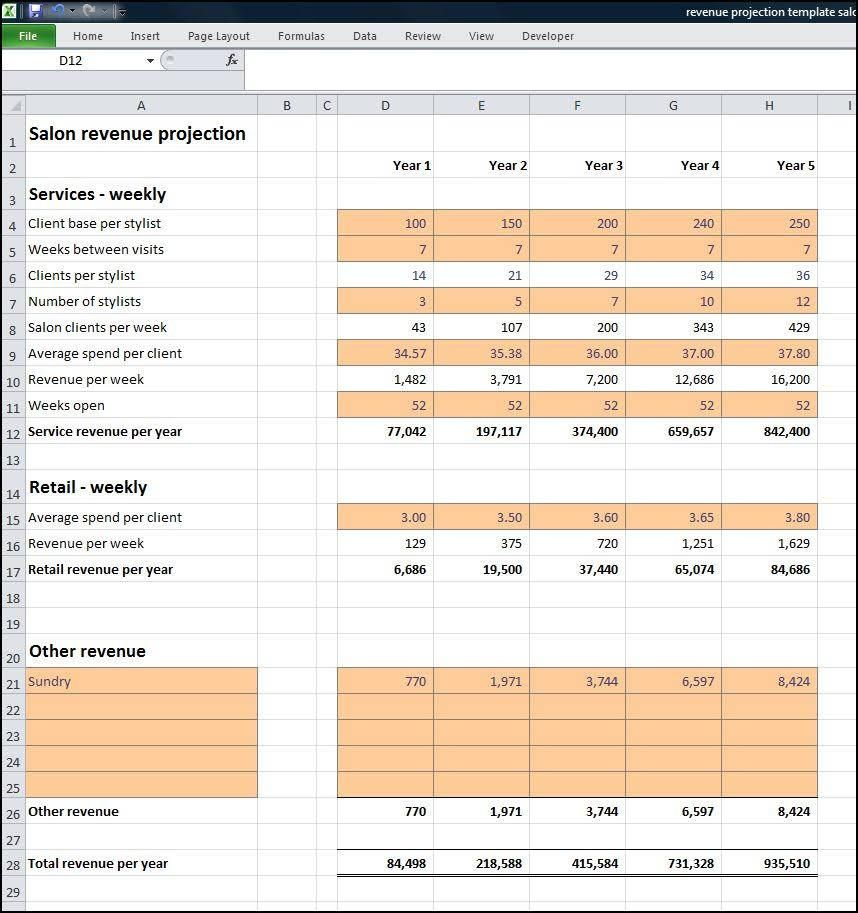 Salon Business Plan Revenue Projection  Goal Sheets