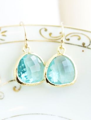 Light Blue and Gold Earrings - a lovely combo