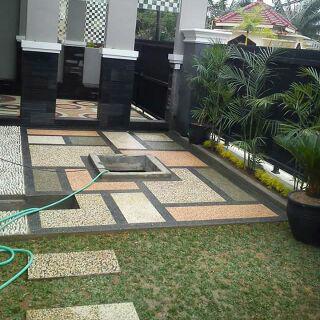 Jasa pembuatan carport / batu sikat Ornamen taman, Kolam