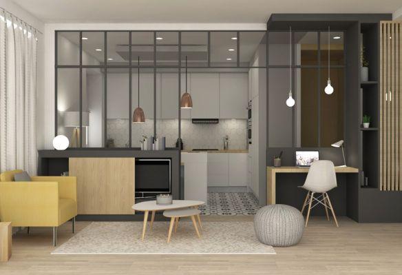 Rénovation appartement, Marion Lanoë séjour, cuisine, verrière