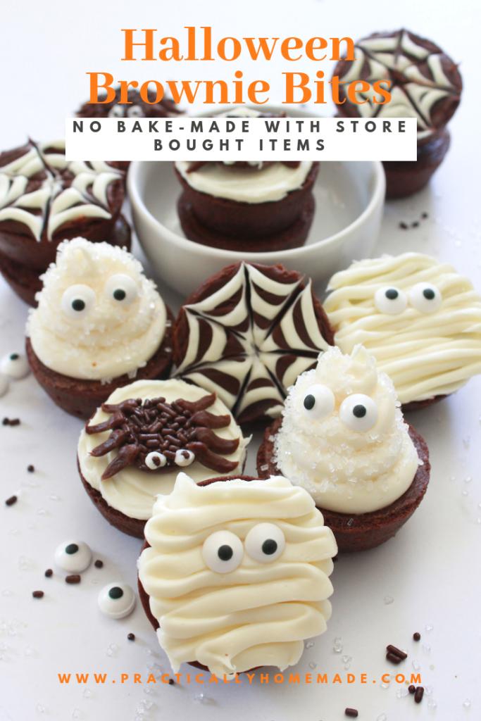 Halloween Brownie Bites Recipe | Treats | Practically Homemade #halloweenbrownies