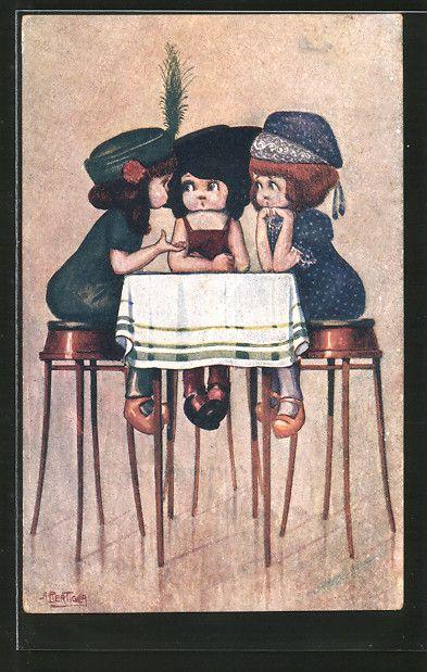 Künstler-AK A. Bertiglia: kleine Mädchen sitzen auf Barhockern an einem Tisch 0