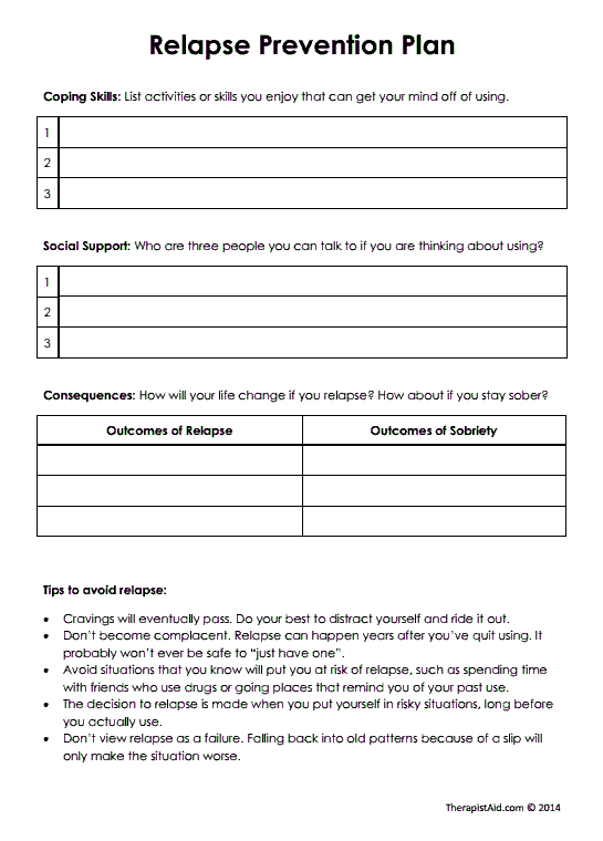 Relapse Prevention Plan Version 2 Preview Worksheets Mental Health Counseling