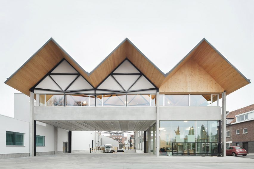 Factory With Pitched Roofs Designed To Complement Terraced Housing Roof Design Roof Architecture Pitched Roof