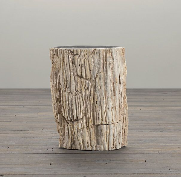 rh's petrified wood stump mixed side table:sourced from indonesia