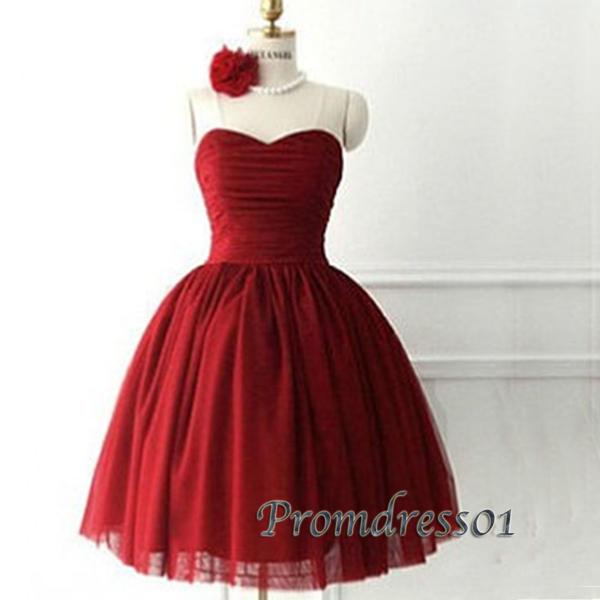 2015 cute sweetheart strapless wine red organza prom dress