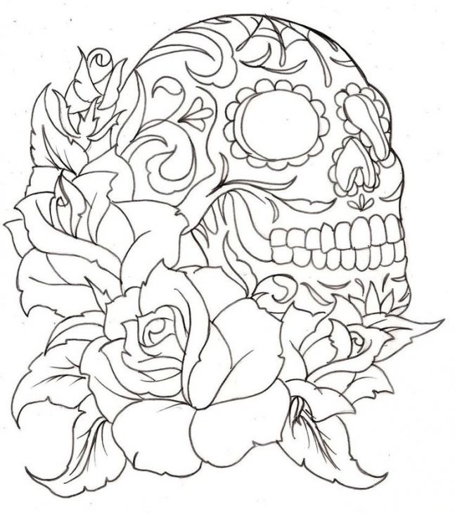 sugar skull coloring page for grown ups