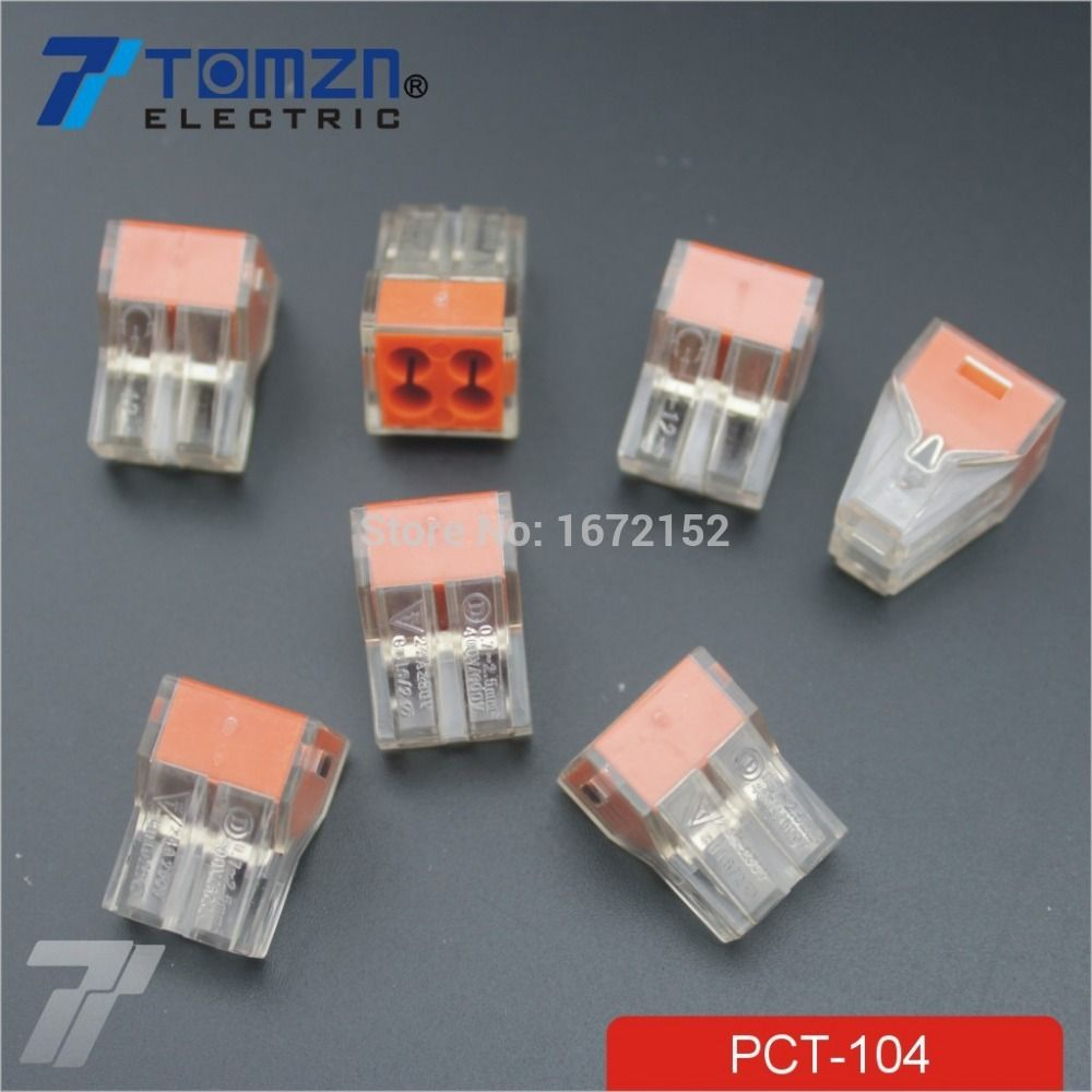100Pcs PCT-104 Push wire wiring connector For Junction box 4 pin ...