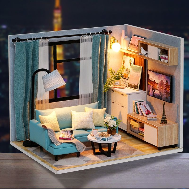 US $12.58 38% OFF Cutebee Doll House Furniture Miniature Dollhouse DIY Miniature House Room Casa Toys for Children DIY Dollhouse H18 2 Doll Houses  - AliExpress