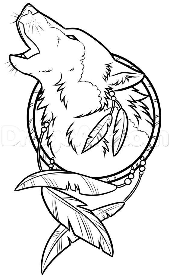 Drawing A Wolf Dreamcatcher By Dawn Com Imagens Desenho De