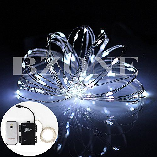 Bzone Cool White Battery Powered Bright LED Light Copper Wire Mini Micro Starry String Lights with Remote Control Timer Function 5m 50 LEDs *** To view further for this item, visit the image link.