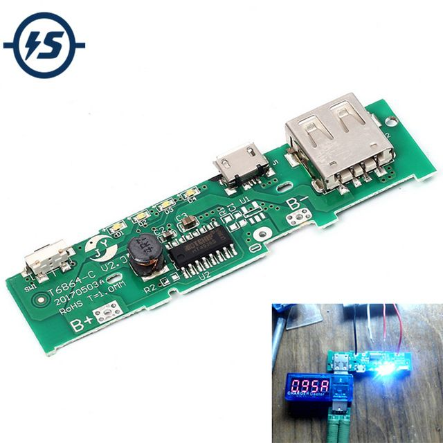5v 1a power bank charger board charging circuit pcb board power supply step  up boost module mobile phone for 18650 battery diy review