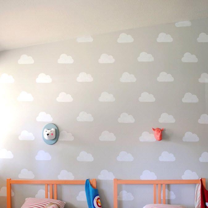 Délicieuse La Décoration De La Chambre De Bébé Avec Des Nuages Est Un Joli Thème  Facile à Réaliser. Voici Un Modèle De Pochoir De Nuage Pour Décorer Les Murs .