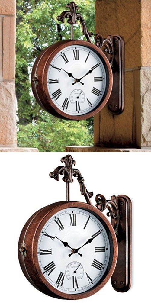 Wall Clocks 20561 Outdoor Clock Thermometer Double Sided Train