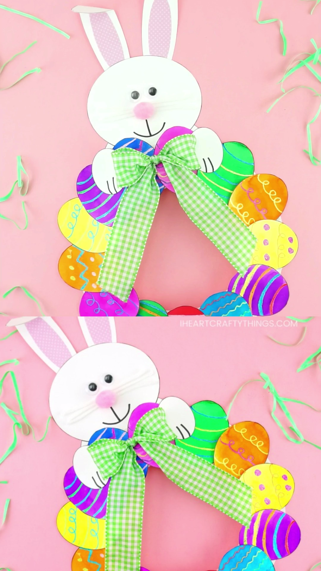 How to Make a Paper Plate Easter Egg Wreath - This colorful paper plate Easter Wreath is a simple and easy Easter Craft idea for kids of all ages to make. Cute DIY Easter decoration for home. #iheartcraftythings