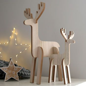 Wooden Standing Reindeer Decoration