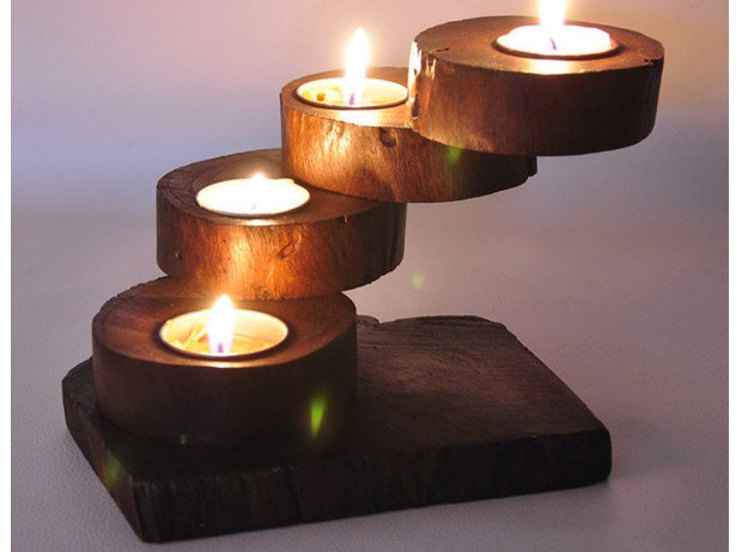 Handmade Teak Carved Relaxation Essential Decorative Candle Holder,  Meditation Handmade Teak Spa / Yoga… | Wooden candle sticks, Candle holders,  Wood candle holders